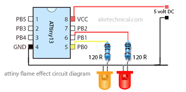 attiny flame effect circuit diagram AKV Technical