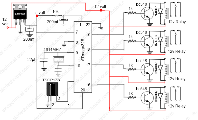 IR remote control home automation circuit diagram
