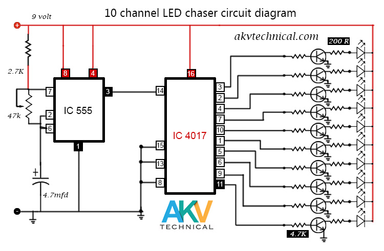 Led Chaser Circuit 10 channel