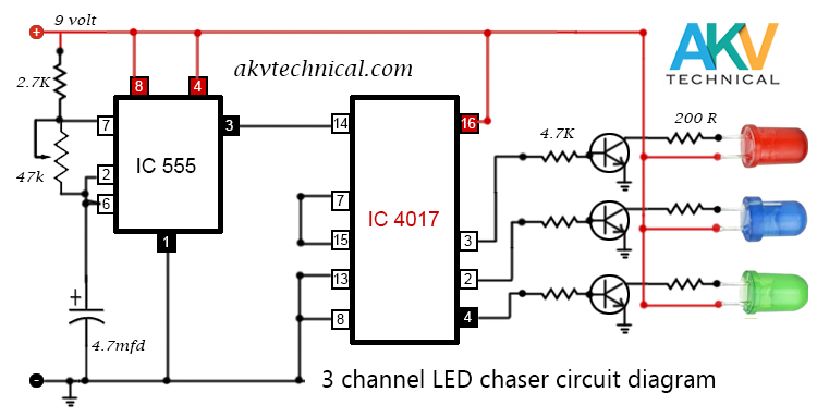 3 channel chaser circuit diagram