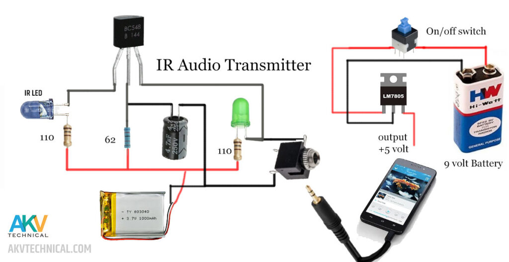 IR sound transmitter circuit diagram