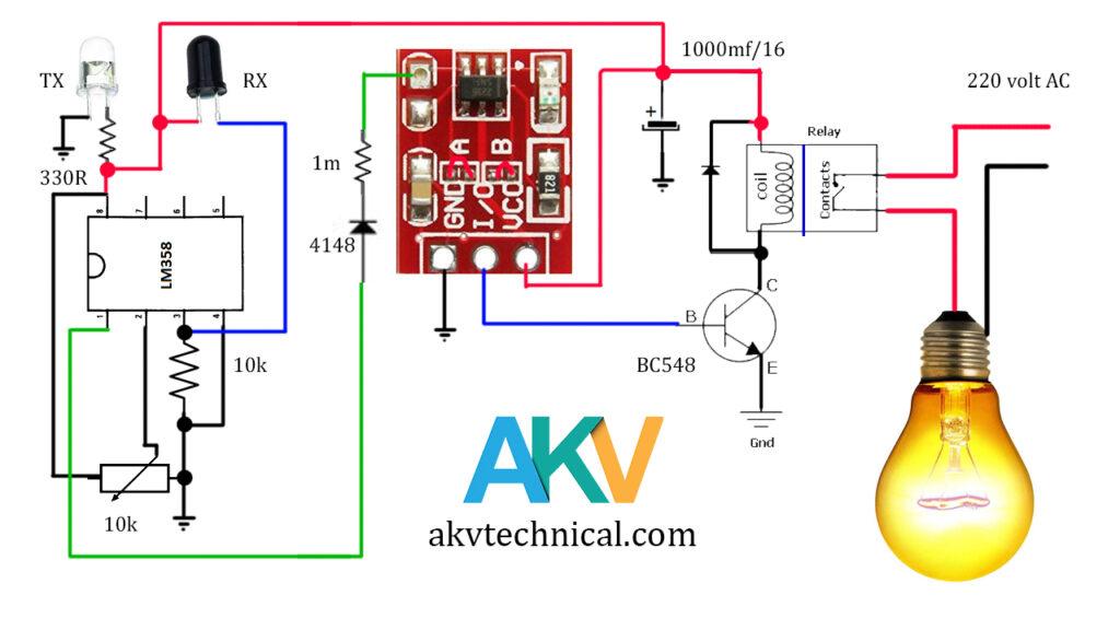 Hand Swipe light Switch circuit diagram