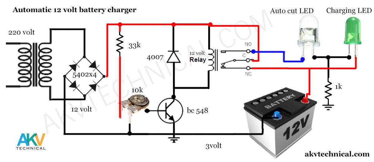 Auto cut 12 volt Battery Charger circuit