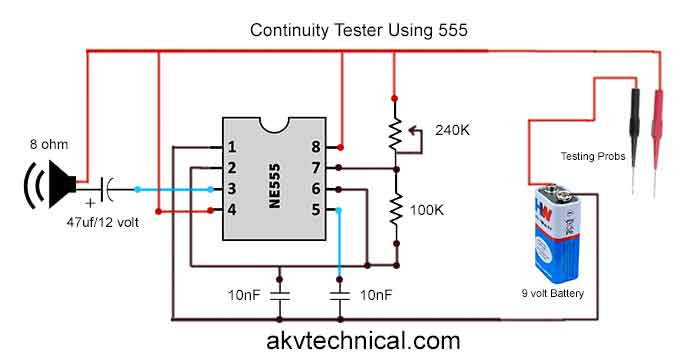 Continuity Tester Using with IC 555
